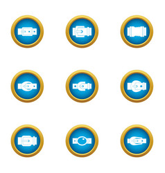 Outer buckle icons set flat style vector