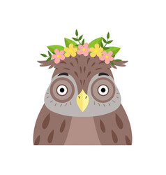 Owl wearing a wreath of flowers cute cartoon bird vector
