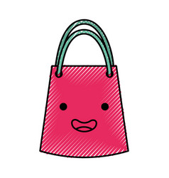 Paper gift bag kawaii character vector