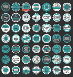 premium quality retro badges collection 3 vector image