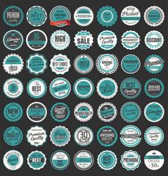 premium quality retro badges collection 3 vector image
