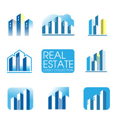real estate logo city building and construction vector image