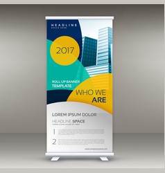 Roll up banner design template with modern shapes vector
