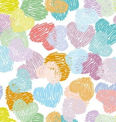 Seamless pattern with sketch hearts Pastel color vector image