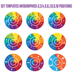 set 9 templates infographics for business vector image