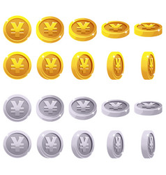 Set of 3d metallic yen coin yuan symbol vector