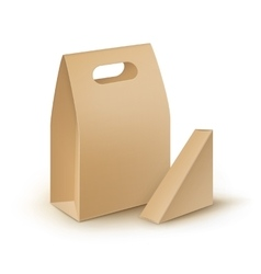 Set of Cardboard Take Away Handle Lunch Boxes vector image