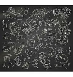 set of chalk love doodles icons on blackboard vector image