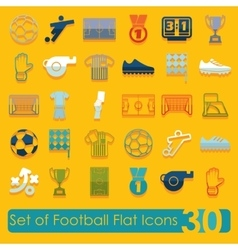 Set of football flat icons vector image