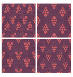 Set of grunge seamless pattern of grapes vector