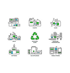 Set of recycling icons in line design recycle vector