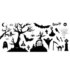 set of silhouette horror images of a halloween vector image