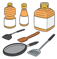 Set of vegetable oil pan and flipper vector