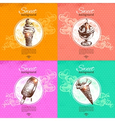 Set of vintage sweet backgrounds vector image