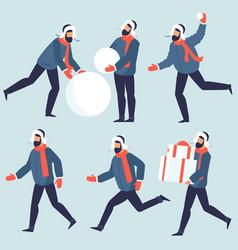 set winter people characters snd activities vector image