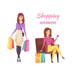 Shopping women with bags and purchases vector