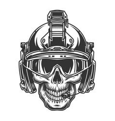 Skull in modern military helmet vector
