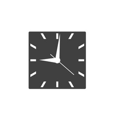 Square clock icon with black clockface isolated vector