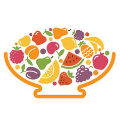 Stylized image of a bowl of fruit vector