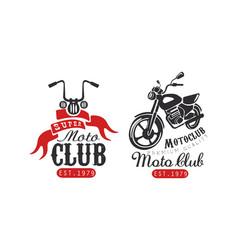 super moto club retro logo templates set racer vector image