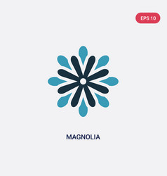 two color magnolia icon from nature concept vector image