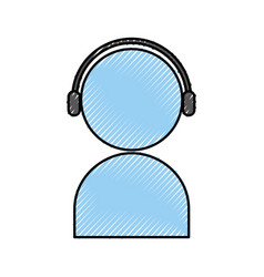 User avatar with headphones vector
