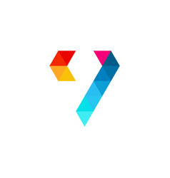v letter colorful triangle logo icon vector image