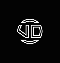 vd logo monogram with negative space circle vector image