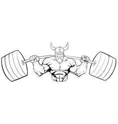 Viking gym mascot grit line art vector