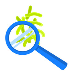 virus under magnify glass icon flat style vector image