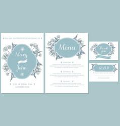 wedding invitation card with light blue tilia vector image