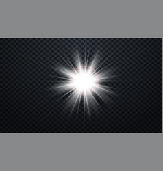 White glowing light burst explosion transparent vector