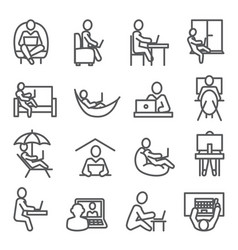 work at home line icons on white background vector image