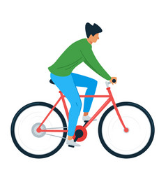 Young man riding bicycle flat vector