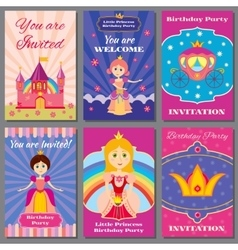 Child girl birthday princess party vector image