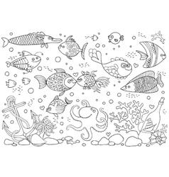 Coloring of underwater world Aquarium with fish vector image