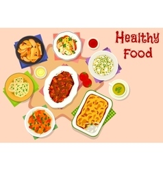 Dinner menu with healthy dessert icon vector image