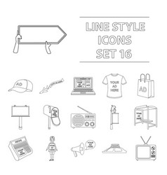 advertising set icons in outline style big vector image vector image