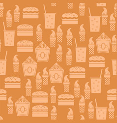 Fastfood silhouette seamless pattern vector