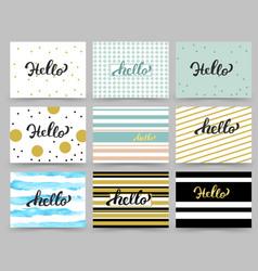 set of flyer brochure design templates with hello vector image vector image