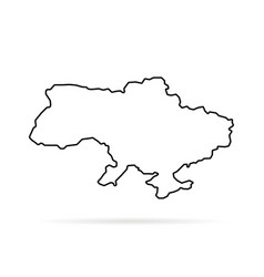 thin line ukraine map with shadow vector image vector image