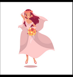bride dancing happily isolated vector image vector image