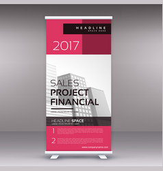 clean modern pink standee roll up banner design vector image