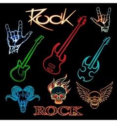 neon rock vector image vector image