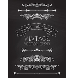 Set of chalk calligraphic design elements vector
