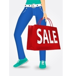 woman legs with shopping bags vector image vector image