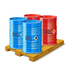 Wooden pallet and metal barrels with oil and vector image vector image