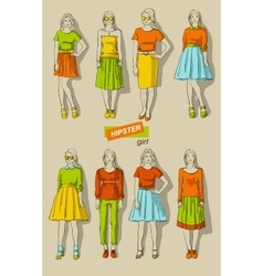 fashion girls hipsters set vector image