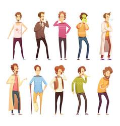 sickness man retro cartoon icon set vector image