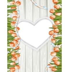 Wooden heart shape frame EPS 10 vector image